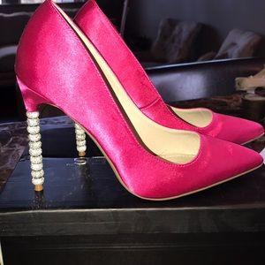 Satin pink jeweled high heels - never worn